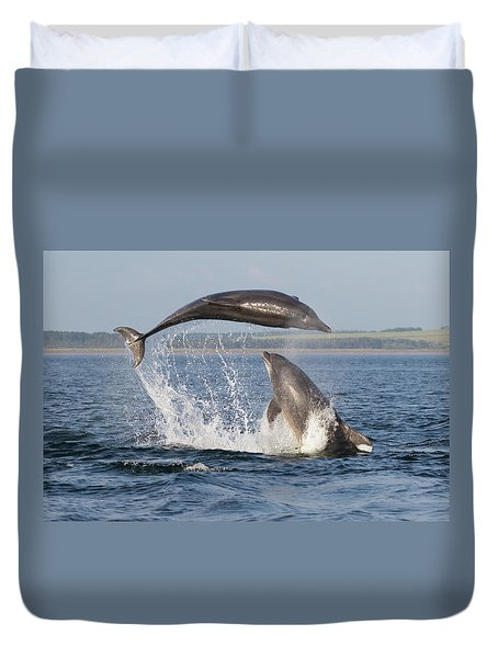 Dolphins Having Fun Duvet Cover