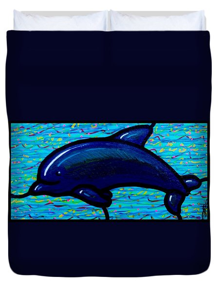 Duvet Cover featuring the painting Dolphin by Jim Harris