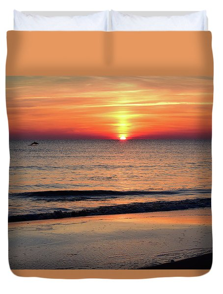 Dolphin Jumping In The Sunrise Duvet Cover