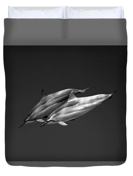 Dolphin Pair Duvet Cover by Sean Davey