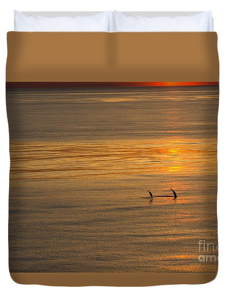 Dolphin Sunset Duvet Cover