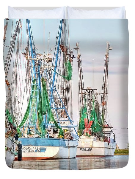 Dolphin Tail - Docked Shrimp Boats Duvet Cover