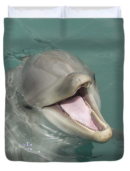 Duvet Cover featuring the painting Dolphin by Sean M