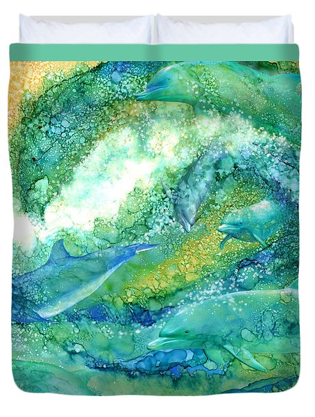 Duvet Cover featuring the mixed media Dolphin Waves 2 by Carol Cavalaris