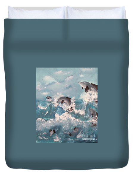 Dolphins At Play Duvet Cover
