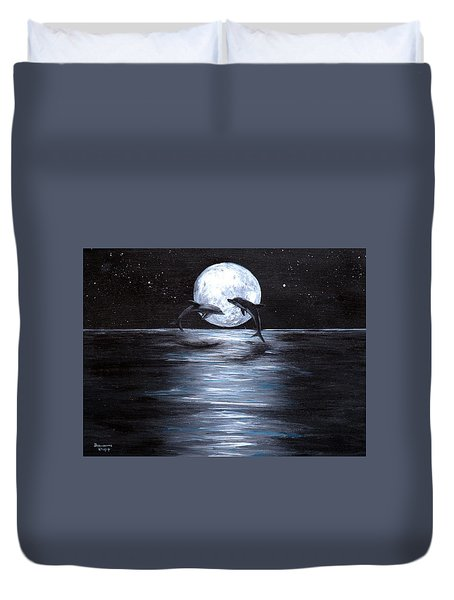 Dolphins Dancing Full Moon Duvet Cover by Bernadette Krupa