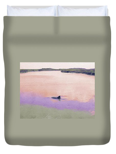 Dolphins In The River Duvet Cover by Patricia Greer