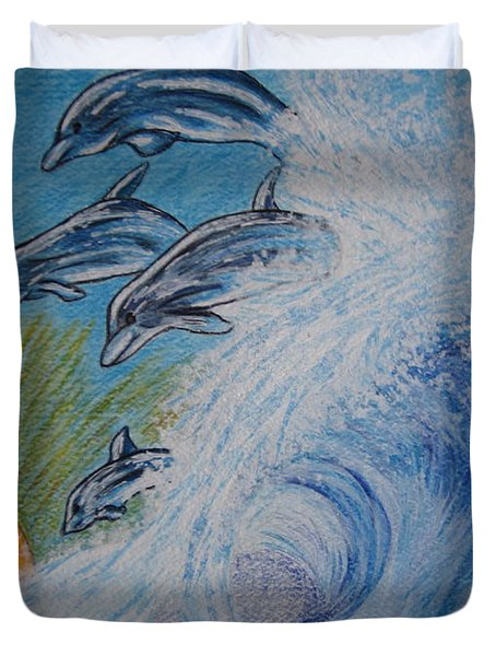 Dolphins Jumping In The Waves Duvet Cover by Kathy Marrs Chandler
