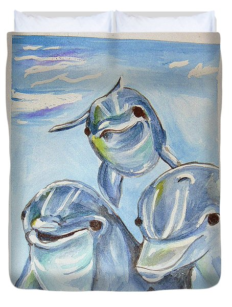 Dolphins Duvet Cover by Loretta Nash