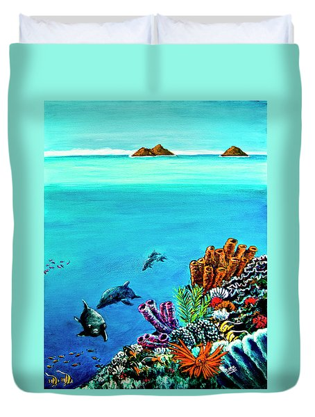 Dolphins Moorish Idle Lion Fish #253 Duvet Cover by Donald k Hall