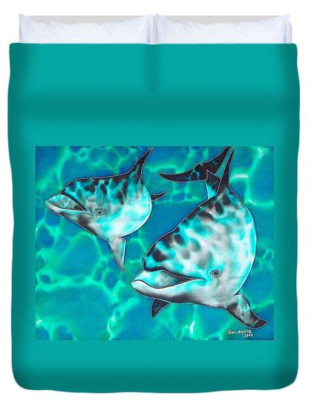 Dolphins Of Sanne Bay Duvet Cover by Daniel Jean-Baptiste