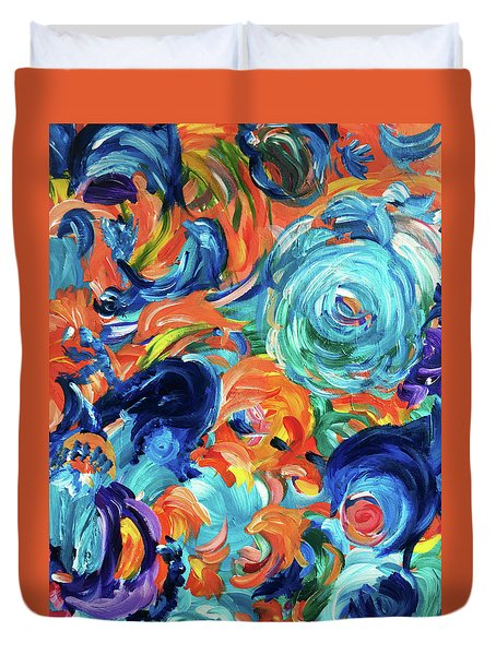 Dolphins Playing In Peonies Duvet Cover