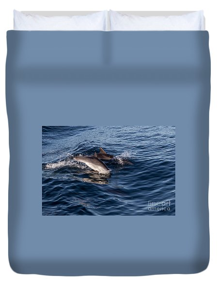 Dolphins Playing In The Wake Duvet Cover