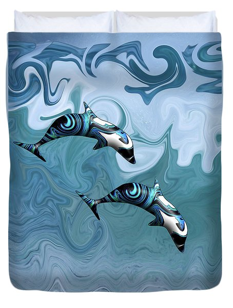 Dolphins Playing In The Waves Duvet Cover