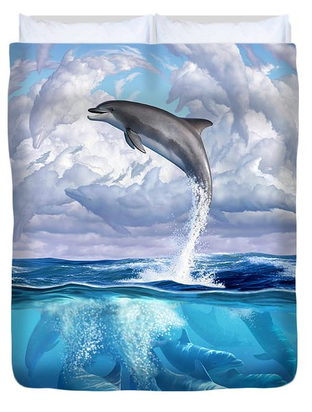 Dolphonic Symphony Duvet Cover by Jerry LoFaro