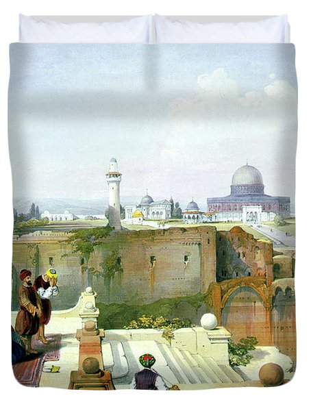 Dome Of The Rock In The Background Duvet Cover