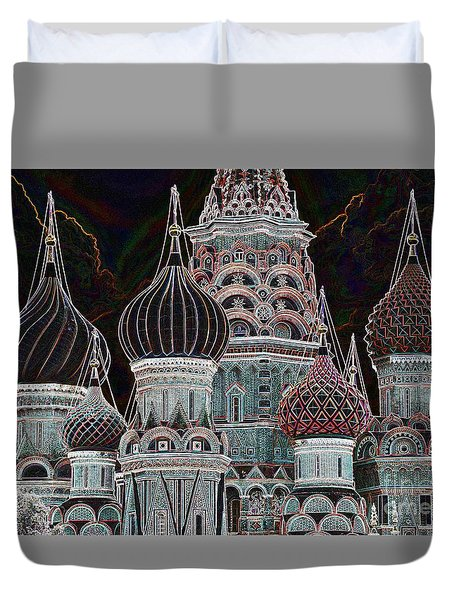 Domes Of St. Basil Cw Duvet Cover by Steven Liveoak
