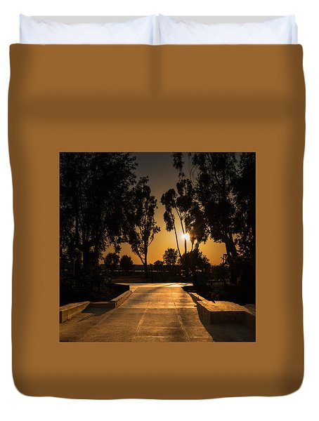 Dominguez Hills Sunset Duvet Cover