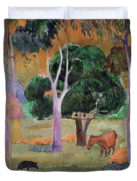 Dominican Landscape Duvet Cover by Paul Gauguin