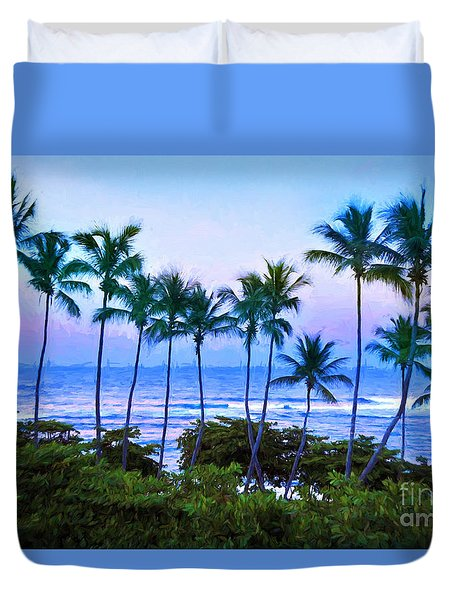 Dominican Palms Twilight Duvet Cover by Linda Olsen