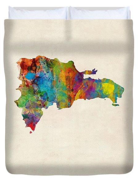 Dominican Republic Watercolor Map Duvet Cover