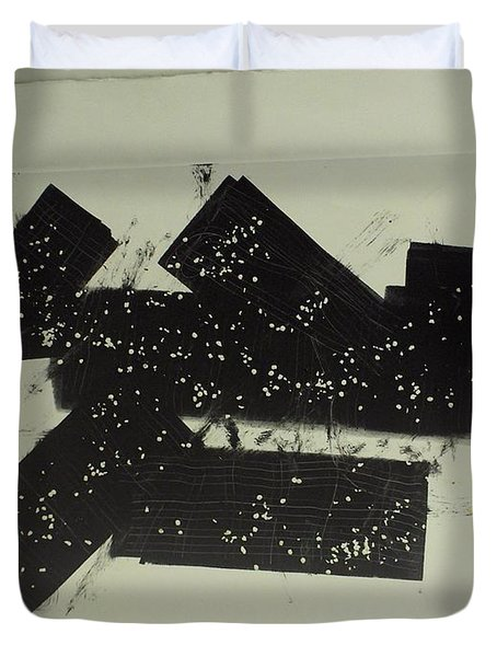 Duvet Cover featuring the mixed media Dominos by Erika Chamberlin