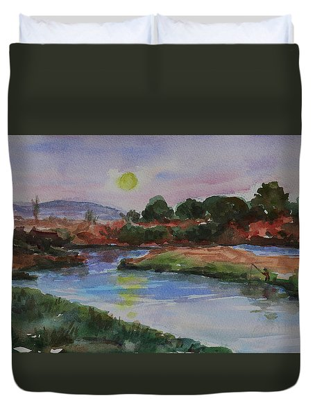 Duvet Cover featuring the painting Don Edwards San Francisco Bay National Wildlife Refuge Landscape 1 by Xueling Zou