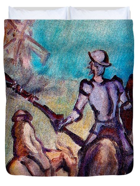 Don Quixote With Windmill Duvet Cover