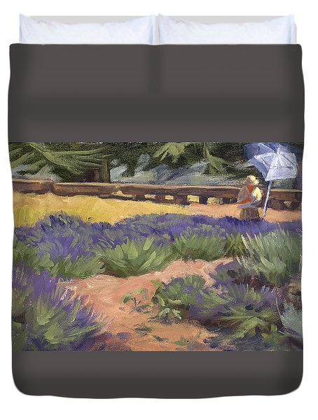 Don Read Painting Lavender Duvet Cover by Jane Thorpe