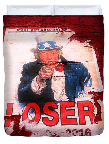 Donald Trump Loser Or Winner  Duvet Cover by Funkpix Photo Hunter