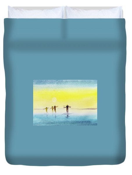 Duvet Cover featuring the painting Done For The Day. by Asha Sudhaker Shenoy