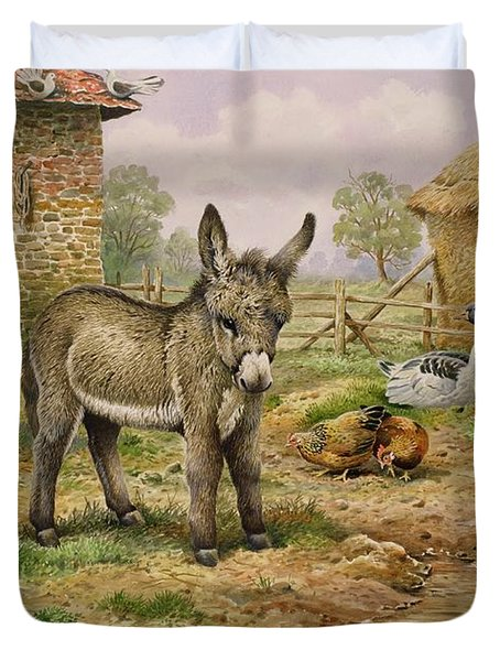 Donkey And Farmyard Fowl  Duvet Cover