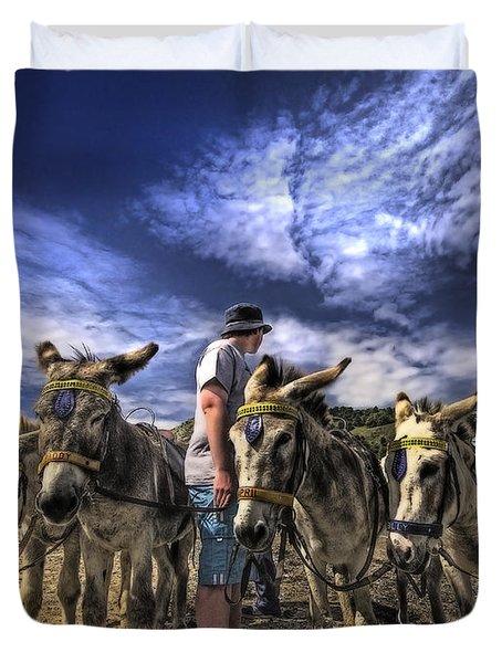 Donkey Rides Duvet Cover by Meirion Matthias