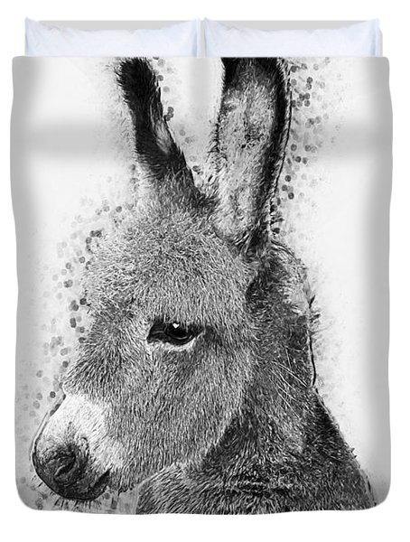 Duvet Cover featuring the digital art Donkey by Taylan Apukovska