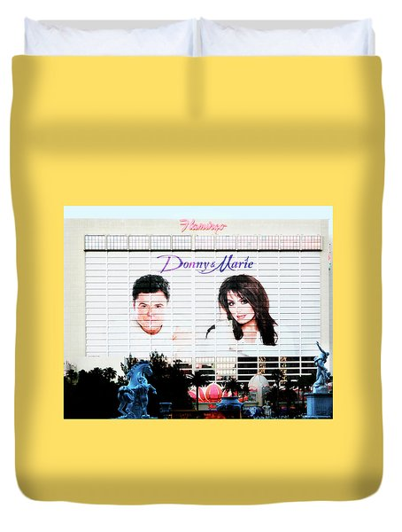 Donny And Marie Osmond Large Ad On Hotel Duvet Cover