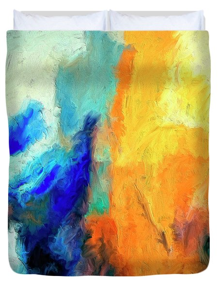 Duvet Cover featuring the painting Don't Look Down by Dominic Piperata