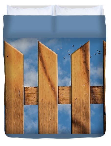 Duvet Cover featuring the photograph Don't Take A Fence by Paul Wear
