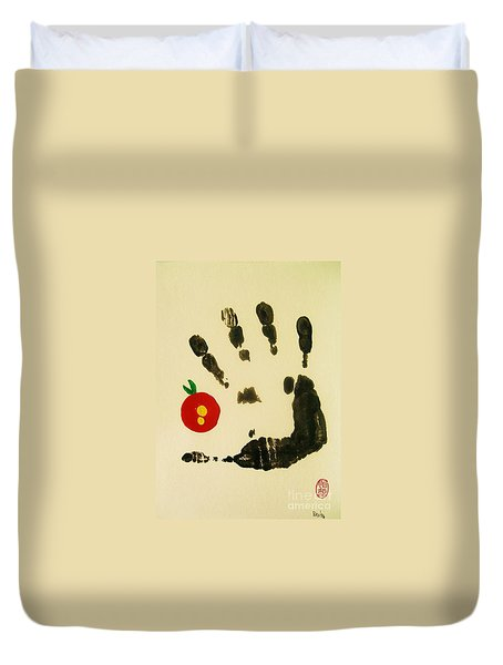 Duvet Cover featuring the painting Don't Touch Me by Roberto Prusso