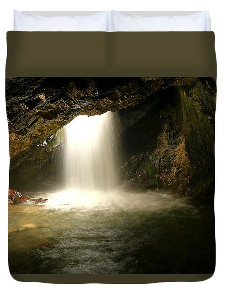 Duvet Cover featuring the photograph Donut Falls by Johnny Adolphson