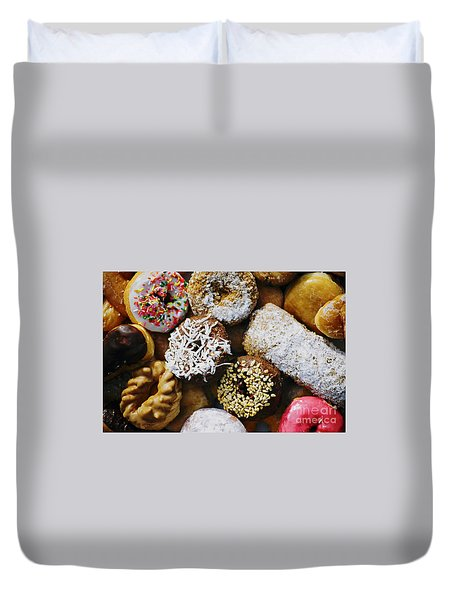 Duvet Cover featuring the photograph Donuts by Vivian Krug Cotton