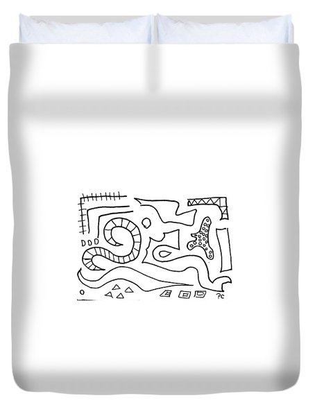 Duvet Cover featuring the painting Doodle by Patricia Cleasby