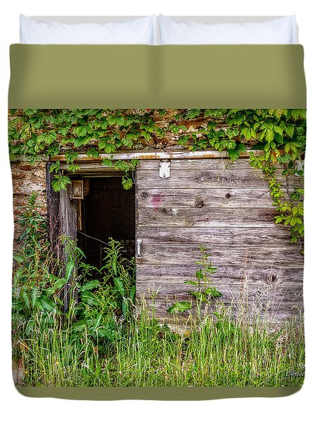 Duvet Cover featuring the photograph Door Ajar by Christopher Holmes