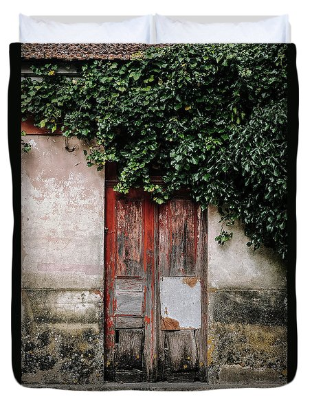 Duvet Cover featuring the photograph Door Covered With Ivy by Marco Oliveira