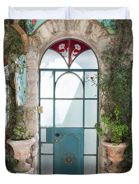 Duvet Cover featuring the photograph Door Entrance To The Art by Yoel Koskas