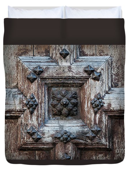 Duvet Cover featuring the photograph Door Fragment Of The Church Of The Jacobins by Elena Elisseeva