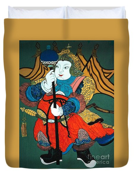 Duvet Cover featuring the painting Door Guard No.2 by Fei A
