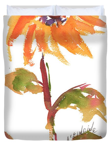 Door Keeper Sunflower Watercolor Painting By Kmcelwaine Duvet Cover