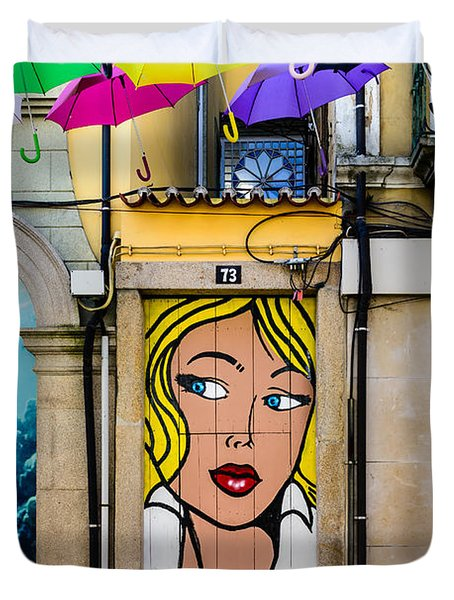 Door No 73 And The Floating Umbrellas Duvet Cover