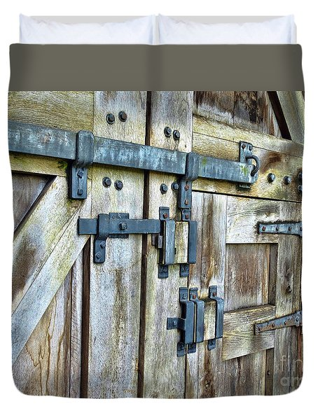 Doors At Caerphilly Castle Duvet Cover