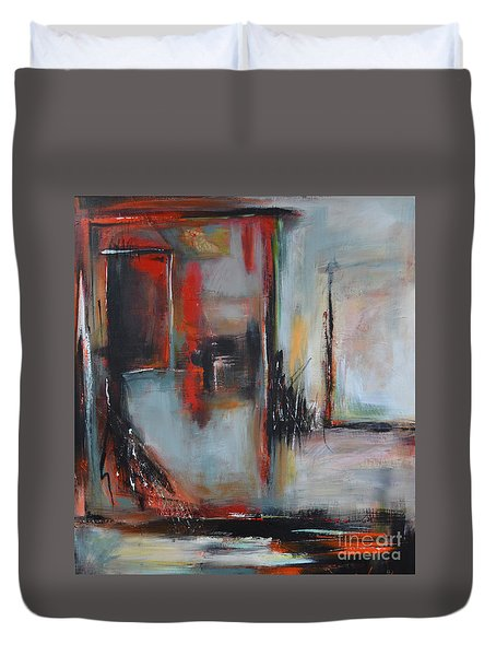 Duvet Cover featuring the painting Doors by Cher Devereaux
